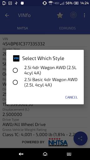 VINfo Vin Decoder Scanner Screenshot