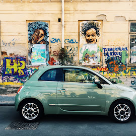 Street art by Bianca Enache - City,  Street & Park  Street Scenes ( car, bucharest, building, graffiti, street, art )