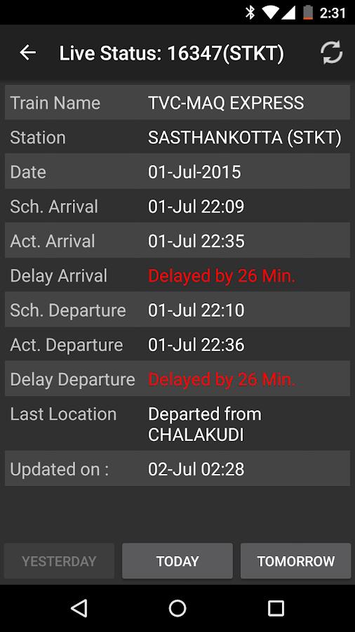 Indian Train Status- screenshot