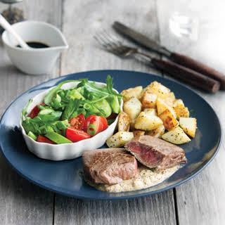 Mustard Steak With Tasty Veg And Salad.