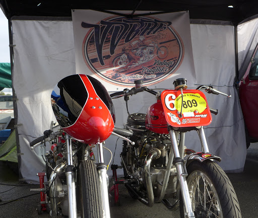 The Bill -Carbu and the 60X2, Dirt-Track Triumph Bonneville before the race.
