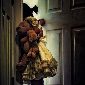 are you there? are you anywhere? by Ruby Del Angel - People Fine Art ( child, girl, teddy bear, searching, dress, fine art, door, children, conceptual )