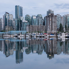 Vancouver Skyline by Ruben Parra - City,  Street & Park  Skylines ( mirror, reflection, skyline, stanley park, canada, blue, sunset, marina, vancouver, british columbia )