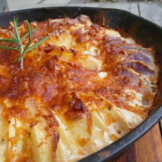 Hasselback Potatoes Au Gratin.