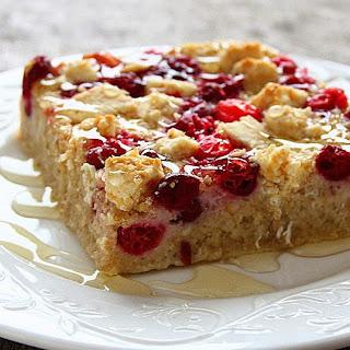Cranberry White Chocolate Oatmeal Bake