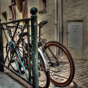 Abandoned by Ioan G Hiliuta - City,  Street & Park  Street Scenes ( bicycles, hdr, street, tied, bicycle, abandoned )