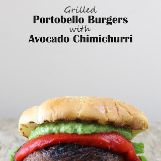 Vegan Grilled Portobello Burgers with Avocado Chimichurri.