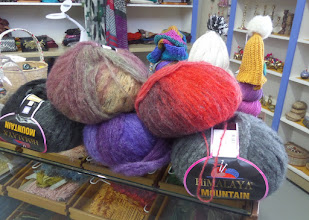 Photo: I kept looking for quilt stores.  Our leader suggested this place, but it was basically a wool shop.  Each of these large balls of wool yarn is enough to make a sweater.