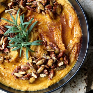 Silky Sweet Roasted Butternut Squash Hummus w/ Candied Pecans, Spicy Pepitas, & Honey