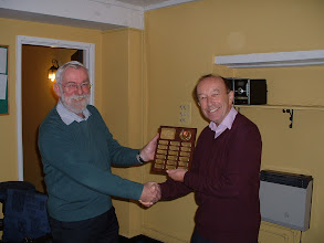 Photo: Roy Ludlow of Trowbridge receives the Wiltshire County Chess Association President's Shield from the Wiltshire County Chess Association President Nick Wingfield for winning the 2010-11 Wiltshire Open Chess Minor Championship.