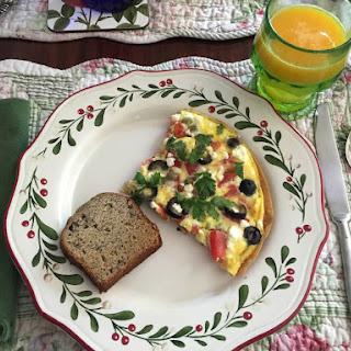 Mediterranean Breakfast Pizza aka Open-Faced Omelette from alexandersmom.com