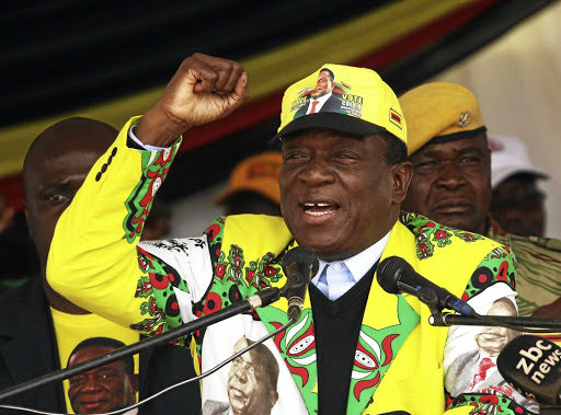 President Emmerson Mnangagwa addresses a Zanu-PF election rally in Bindura, Zimbabwe, on July 7 2018. Picture: REUTERS