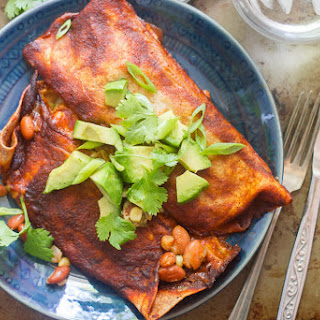 Vegan Slow Cooker Pinto Bean Enchiladas.