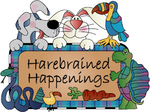 Photo: This is our logo from our website www.harebrainedhappenings.com The website was designed by  The Old Drawing Board and the logo was created by Tammy Sherman using the animals from some of our patterns.