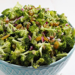 Mayo-Free Broccoli Salad with Sunflower Seeds and Golden Raisins