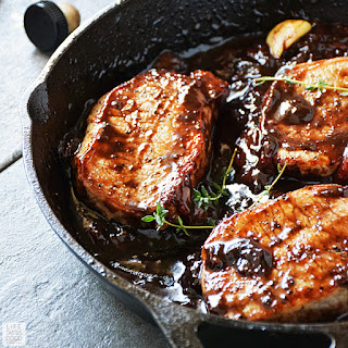 Pork Chops with Balsamic-Strawberry Sauce Recipe