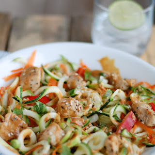 Chicken and Zucchini Noodles with Spicy Peanut Butter Sauce.