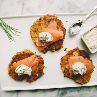Zucchini and Chickpea Fritters with Smoked Salmon.