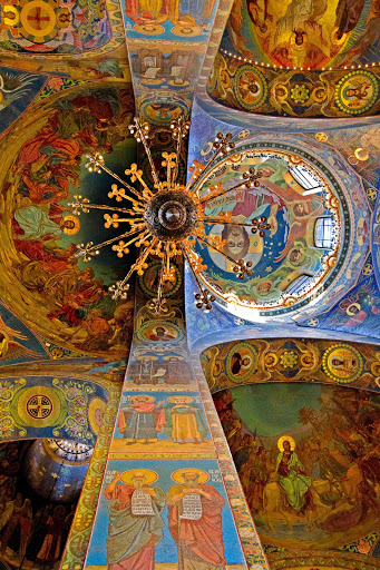 Inside the Church of the Savior on Spilled Blood in St. Petersburg, Russia.