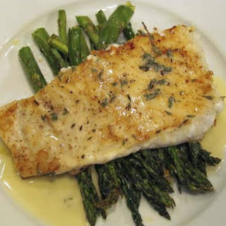 Baked Halibut With Lemon Butter Sauce.