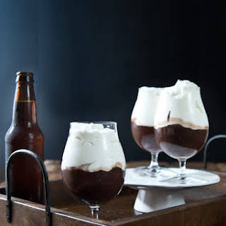 Chocolate Stout Pudding with Beer Whipped Cream.