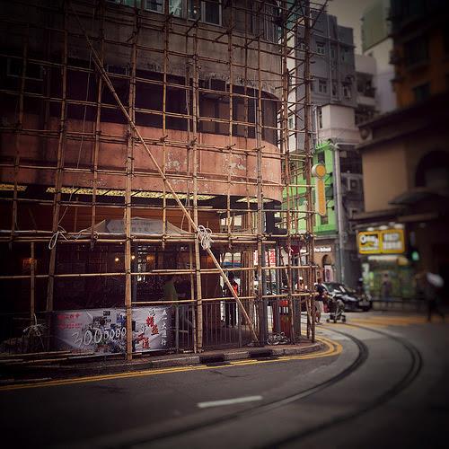Hong Kong, Bamboo Scaffolding,  香港, 竹棚, tram, tram tracks, corner