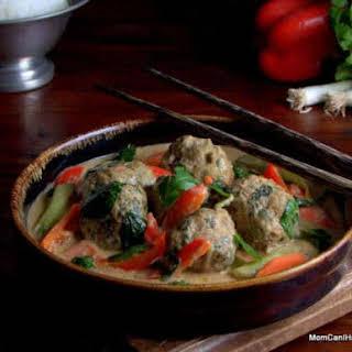 Gluten Free Turkey Meatballs In Massaman Curry.