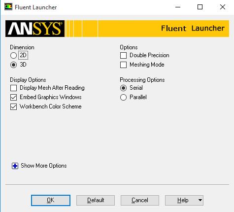 ANSYS Fluent - Настройки окна Fluent Launcher по умолчанию