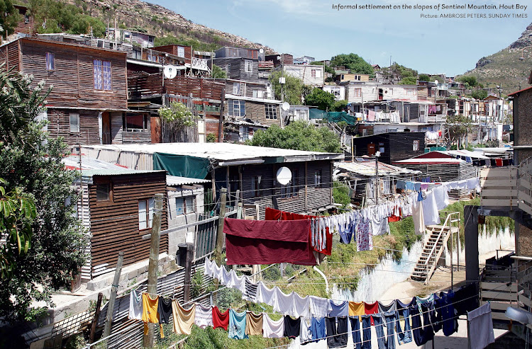 Informal settlement on the slopes of Sentinel Mountain, Hout Bay. Picture: AMBROSE PETERS/SUNDAY TIMES