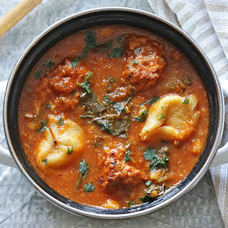 Italian Meatball and Tortellini Soup with Spinach.