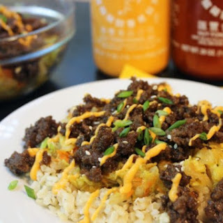 Korean Ground Beef Over Wilted Napa Slaw.