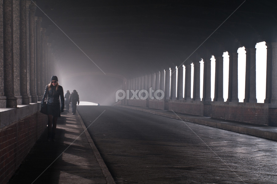 On the bridge by Karen Havenaar - City,  Street & Park  Street Scenes ( walking, italia, street, pavia, bridge, sunglasses, people, covered )