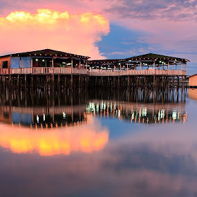 Floating hut by Macbrian Mun - Landscapes Waterscapes ( calm, reflection, waterscape, set, lakes, travel, beauty, landscape, float, sun, panorama, mirror, johor, sky, nature, serenity, asia, weather, evening, water, clouds, hut, beautiful, skudai, lake, malaysia, rivers, waterscapes, skies, johore, sunset, serene, outdoor, floating, scene, cloud, view, symmetry, scenery, landscapes, natural, panoramic )