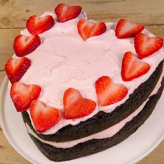 Strawberry Heart Ice Cream Cake.