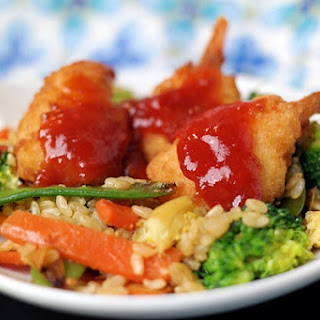 Butterfly Shrimp Fried Rice with Fruity Sweet & Sour Sauce.