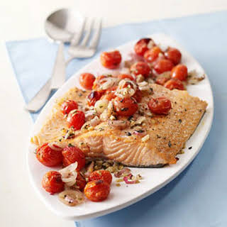 Salmon with Roasted Tomatoes and Shallots.