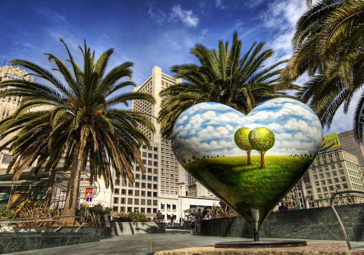 """Two Trees Heart"" in Union Square. Photo credit: Trey Ratcliff."