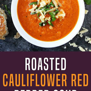 Roasted Cauliflower Red Pepper Soup.
