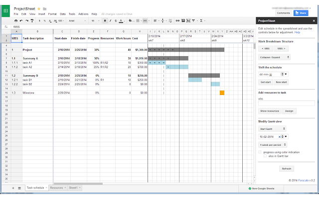ProjectSheet Planning Google Sheets Addon - Google docs project management template