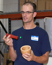 Photo: Steve DiBenedetto explains one of his first bowl shapes as a mortar and pestle.