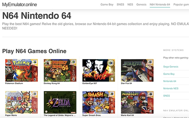 Nintendo 64 N64 Online Emulator