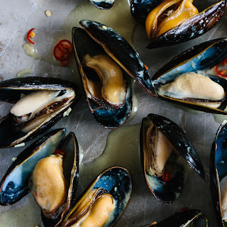 Coconut Thai Green Curry Mussels.