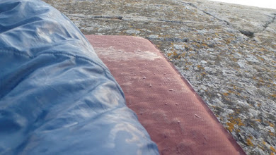 Photo: Dew and a wet sleeping bag. This is what you get for sleeping without a tent.