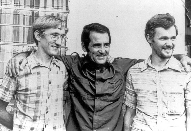Anti-apartheid activists Tim Jenkin, Alex Moumbaris and Stephen Lee in Dar es Salaam in 1979 after their escape from Pretoria Central prison.