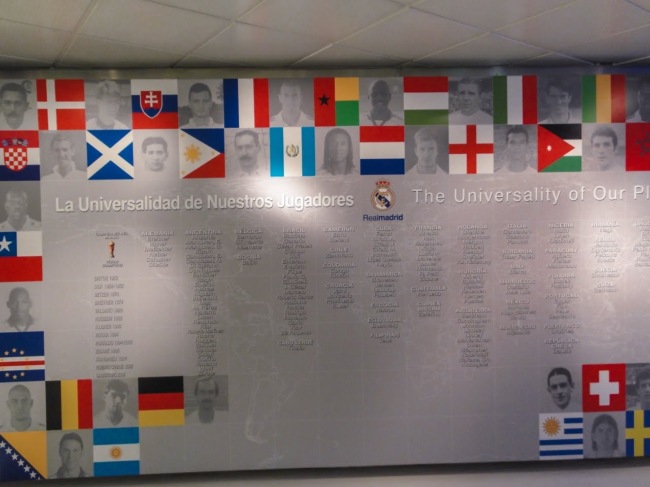 A wall namming many of the international players who have played for Real Madrid