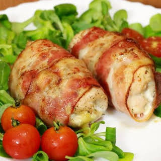 Cutlets Of Chicken And Apples Wrapped In Bacon.