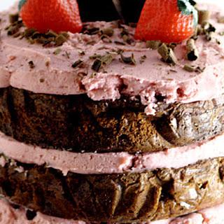 Dark Chocolate Cake with Strawberry Buttercream