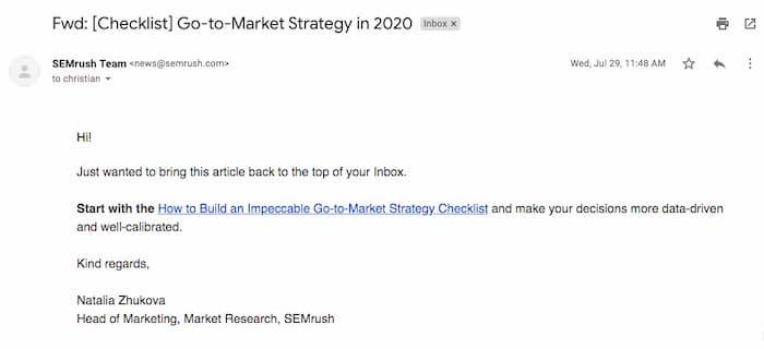 Một email để thông báo về một bài đăng blog chuyên sâu