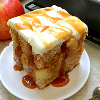 Super-Moist Apple Poke Cake with Maple Caramel