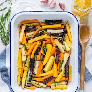 Honey Butter Herb Roasted Carrots.
